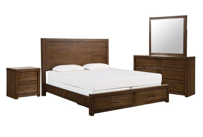 Kit-Riley Brownstone California King Storage 4 Piece Bedroom Set - 360