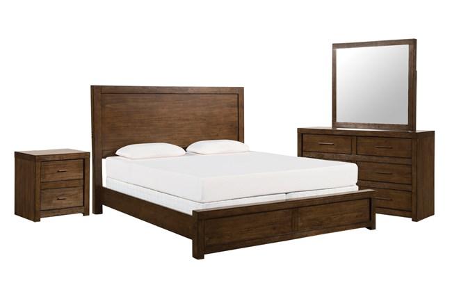 Riley Brownstone Eastern King Panel 4 Piece Bedroom Set - 360