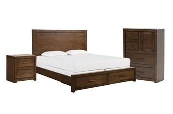 Riley Brownstone Eastern King Storage 3 Piece Bedroom Set