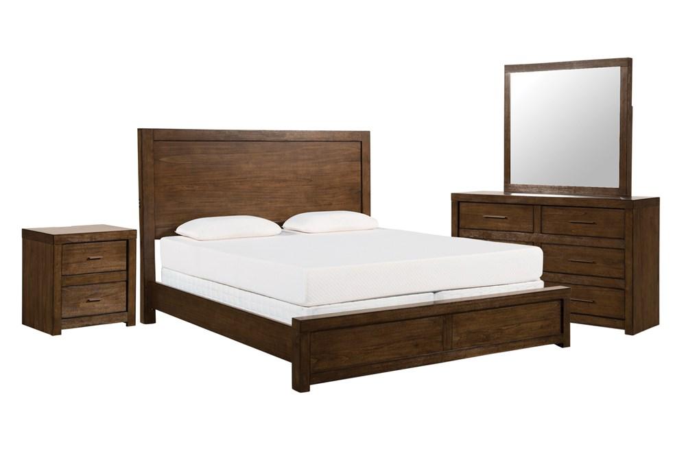 Riley Brownstone Queen Panel 4 Piece Bedroom Set