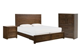 Riley Brownstone Queen Storage 3 Piece Bedroom Set