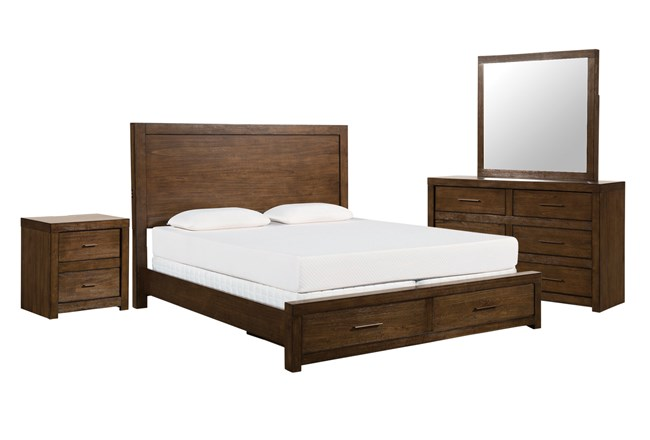 Riley Brownstone Queen Storage 4 Piece Bedroom Set - 360