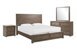 Riley Greystone Eastern King Storage 4 Piece Bedroom Set