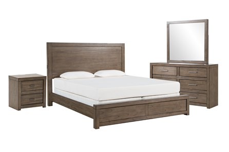 Riley Greystone Eastern King Panel 4 Piece Bedroom Set