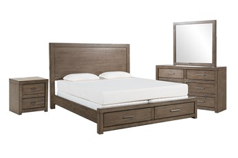Riley Greystone California King Storage 4 Piece Bedroom Set