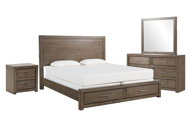 Riley Greystone Queen Storage 4 Piece Bedroom Set - 360