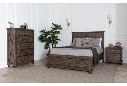 Jaxon Grey California King Storage 3 Piece Bedroom Set Living Spaces