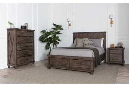 Jaxon Grey Eastern King Storage 3 Piece Bedroom Set Living Spaces
