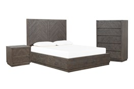 Harrison Charcoal California King Storage 3 Piece Bedroom Set