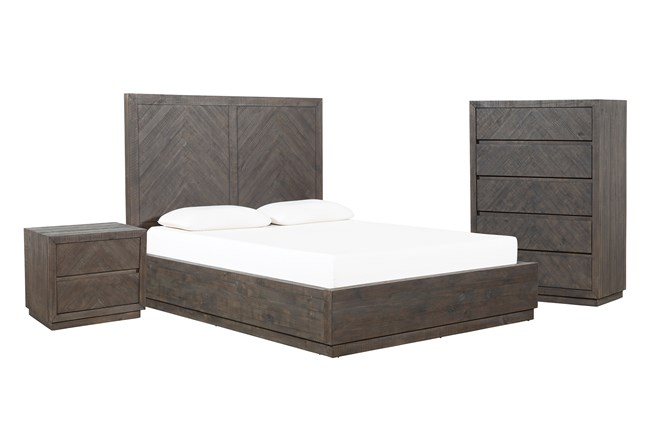 Harrison Charcoal California King Storage 3 Piece Bedroom Set - 360