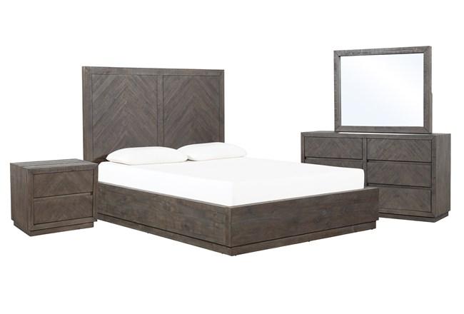 Harrison Charcoal California King Storage 4 Piece Bedroom Set - 360