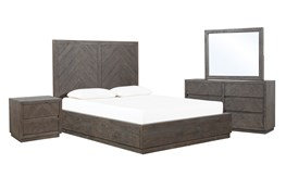 Harrison Charcoal Eastern King Storage 4 Piece Bedroom Set
