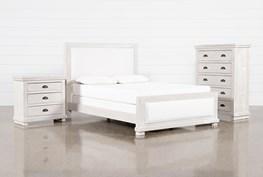 Sinclair Pebble Eastern King Panel 3 Piece Bedroom Set