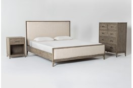 Colette Upholstered Eastern King Platform 3 Piece Bedroom Set