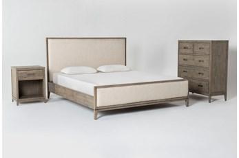 Colette Upholstered Eastern King Platform 3 Piece Bedroom Set