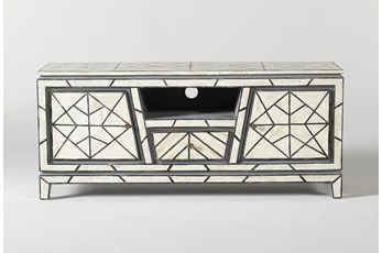 Black + White Bone Inlay Geo Print Small Media Console