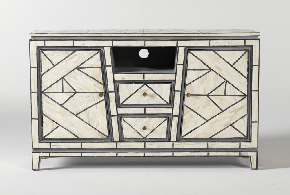 Black + White Bone Inlay Geo Print Media Console