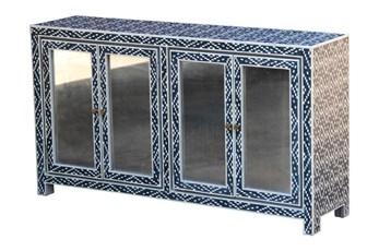 Blue + White Bone Inlay Diamond Print 4 Door Sideboard