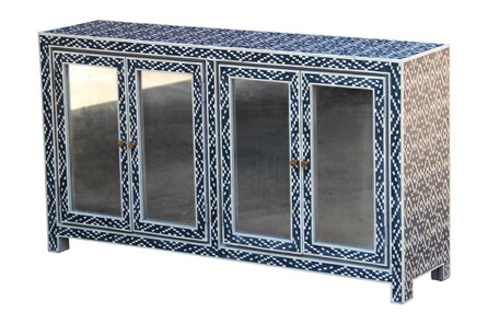 Blue + White Bone Inlay Diamond Print 4 Door Sideboard