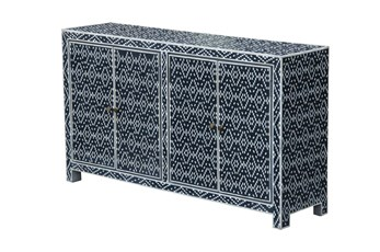 Blue + White Bone Inlay Diamond Print Sideboard