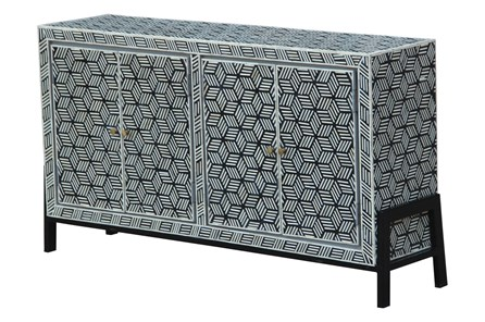Black + White Bone Inlay Geo Print 4 Door Sideboard