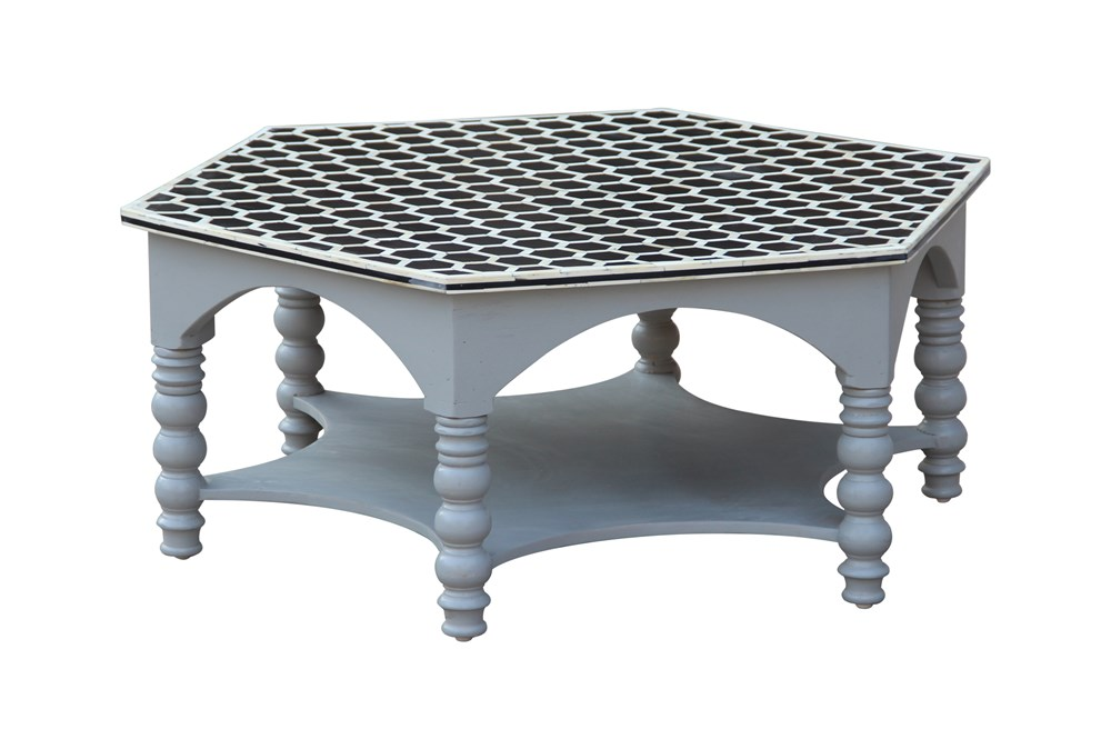 White Wash Bone Inlay Pilar Coffee Table