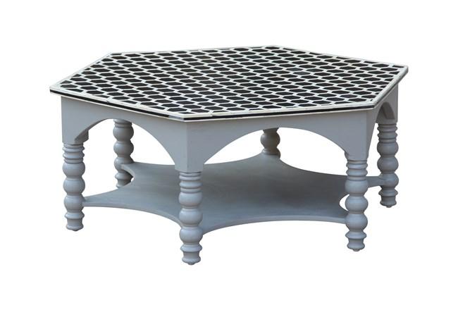 White Wash Bone Inlay Pilar Coffee Table  - 360