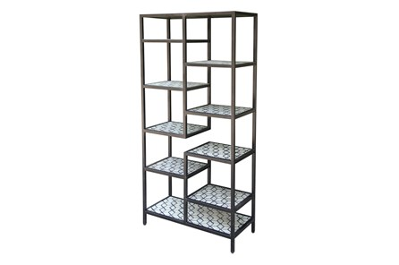 Black + White Bone Inlay Geo Print Multi Bookcase
