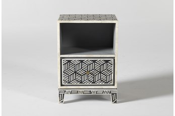 Black + White Bone Inlay Geo End Table