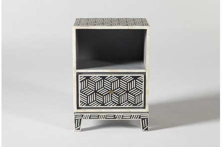 Black + White Bone Inlay Geo End Table