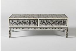 Black + White Bone Inlay Geo Print Coffee Table
