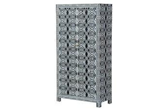 Black + White Bone Inlay Geo Print Wine Cabinet