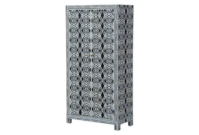 Black + White Bone Inlay Geo Print Wine Cabinet  - 360