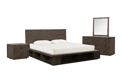 Dylan Eastern King Platform 4 Piece Bedroom Set Living Spaces