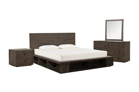 Dylan Eastern King Platform 4 Piece Bedroom Set