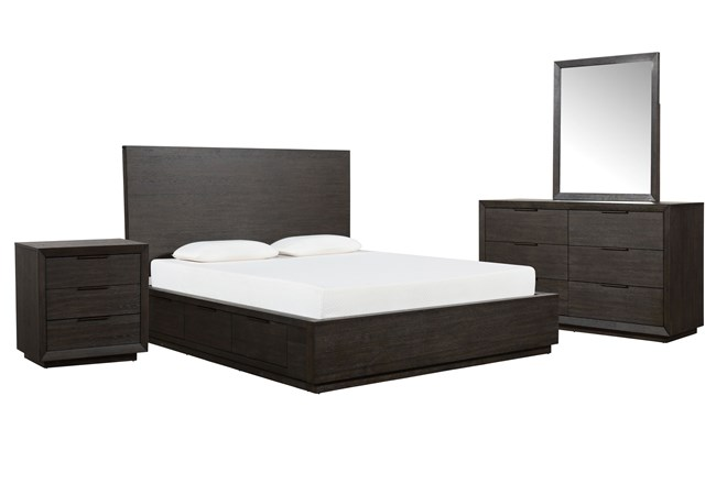 Pierce Espresso Eastern King Storage 4 Piece Bedroom Set - 360