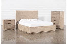 Pierce Natural Queen Panel 3 Piece Bedroom Set