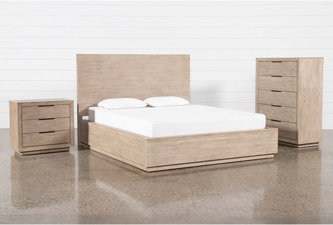 Pierce Natural Queen Panel 3 Piece Bedroom Set - 360