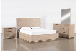 Pierce Natural Queen Panel 4 Piece Bedroom Set