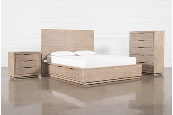 Pierce Natural Queen Storage 3 Piece Bedroom Set