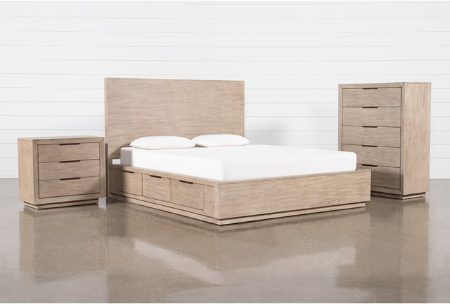 Pierce Natural Queen Storage 3 Piece Bedroom Set - 360
