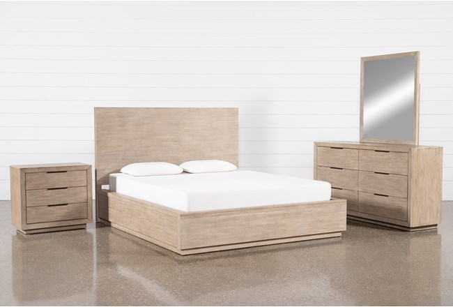 Pierce Natural Eastern King Panel 4 Piece Bedroom Set - 360