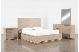 Pierce Natural Eastern King Storage 4 Piece Bedroom Set