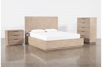 Pierce Natural California King Panel 3 Piece Bedroom Set