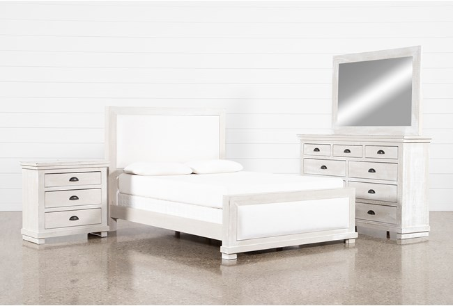 Sinclair Pebble Eastern King Panel 4 Piece Bedroom Set - 360
