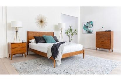 Alton Cherry Eastern King Platform 3 Piece Bedroom Set Living Spaces