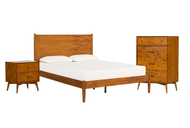 Alton Cherry Eastern King Platform 3 Piece Bedroom Set - 360