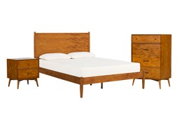 Alton Cherry Queen Platform 3 Piece Bedroom Set