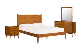 Alton Cherry Queen Platform 4 Piece Bedroom Set