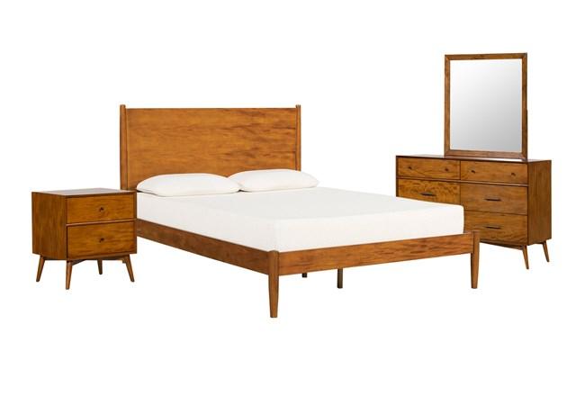 Alton Cherry Queen Platform 4 Piece Bedroom Set - 360